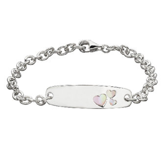 "Honora Girls Sterling & Pink Mother-of-Pearl IDBracelet, 6"" - J339885"