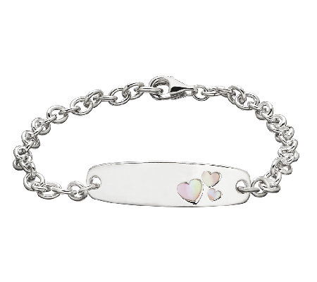 Honora Girls Sterling & Pink Mother-of-Pearl IDBracelet, 6""
