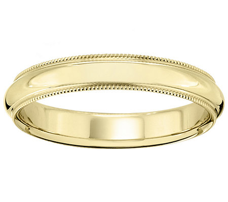 18K Gold 4mm Milgrain Comfort Fit Wedding BandRing