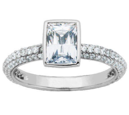Diamonique Sterling Bezel-Set Rectangle Solitai re Stack Ring