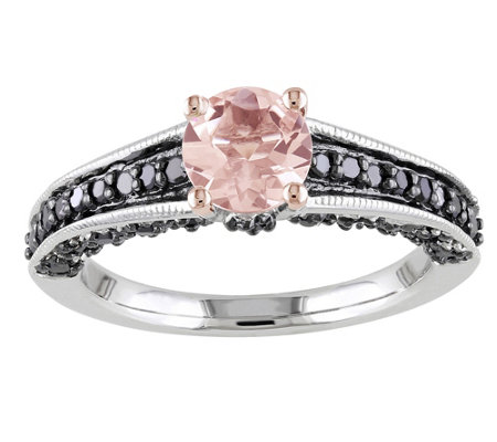 sterling 1 3 cttw black 0 85 ct morganite ring