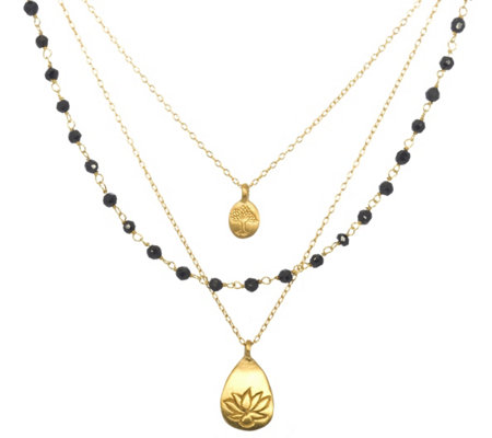 Satya Gemstone, Tree, and Lotus Triple Strand Necklace, Brass