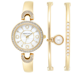 Anne Klein Women's Faux Pearl Goldtone Bangles & Watch Set - J342985