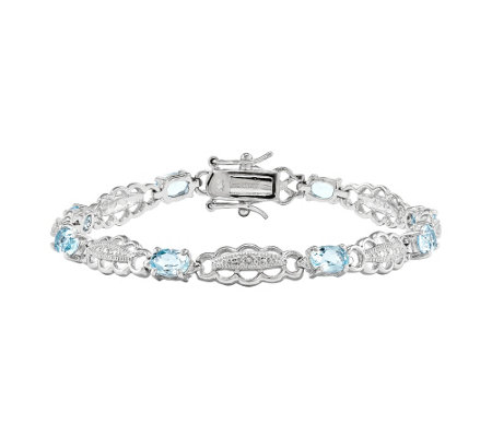 "Sterling Aquamarine & Diamond 7"" Bracelet"
