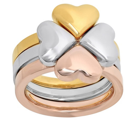 Stainless Steel Three-Piece Heart Clover Ring