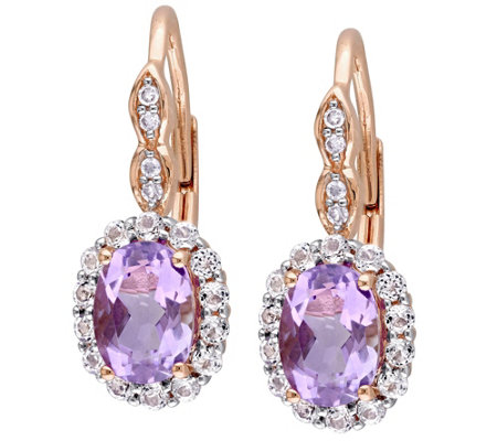 2.20 cttw Amethyst & White Topaz Earrings, 14K