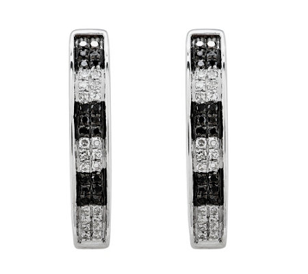 Sterling Black & White Diamond Hoop Earrings