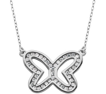 "Diamonique 6/10 cttw Open Butterfly 18"" Necklace, Sterling - J343785"