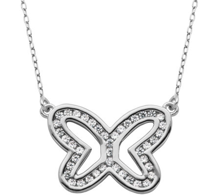 "Diamonique 6/10 cttw Open Butterfly 18"" Necklace, Sterling"