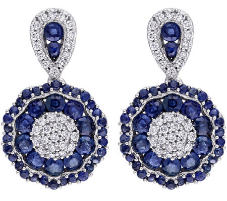 1.90 cttw Sapphire & 1/4 cttw Diamond Dangle Earrings, 14K
