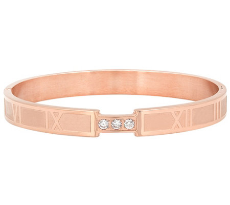 Stainless Steel Roman Numeral Crystal Slip-on Bangle