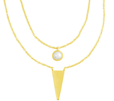 Cultured Pearl & Triangle Layered Necklace, Sterling