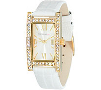 Isaac Mizrahi Live! Pave' Rectangular Dial Leather Strap Watch - J345985
