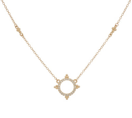Judith Ripka 14K Gold Diamond Circle Necklace