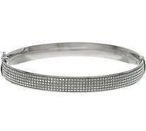 Italian Silver Glitter Oval Bangle Bracelet, Sterling - J347985