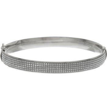 Italian Silver Glitter Oval Bangle Bracelet, Sterling