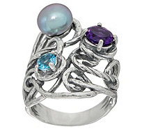 Or Paz Sterling Silver Cultured Pearl & Gemstone Ring - J351185