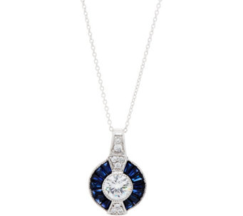 TOVA Diamonique and Simulated Sapphire Pendant, Sterling - J351285