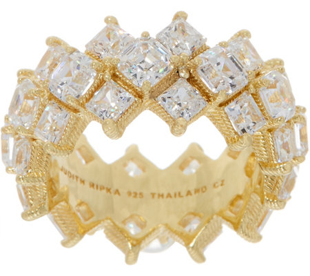 Judith Ripka 14K Clad Square Diamonique Band Ring