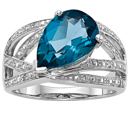 Sterling 3.65 ct London Blue Topaz & Diamond Accent Ring