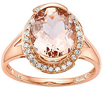 14K Rose Gold 3.00 ct Morganite & 1/7 cttw Diamond Ring - J374985