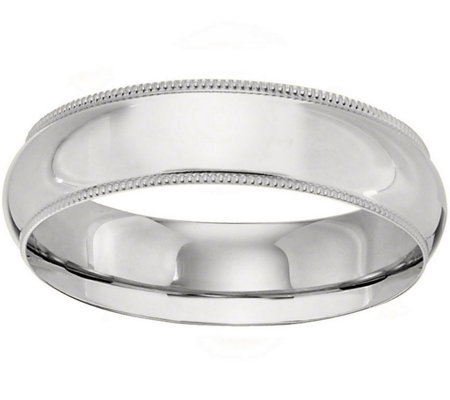 Women's 14K White Gold 6mm Milgrain Wedding Band