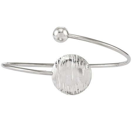 Sterling Disk & Bead Bypass Bangle, 7g by Silver Style