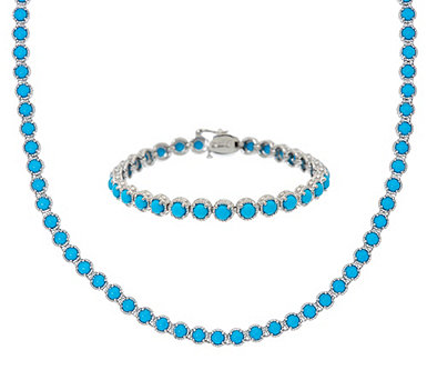 Sleeping Beauty Turquoise Sterling Silver Tennis Bracelet or Necklace - J55685