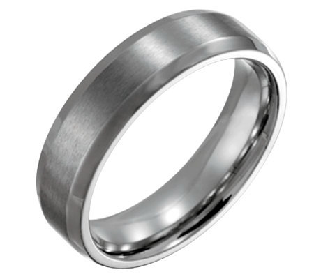 Forza Men's 6mm Steel w/ Beveled Edge BrushedPolished Ring