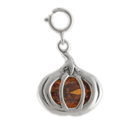 Sterling Pumpkin Charm with Orange Cubic Zirconia Accent