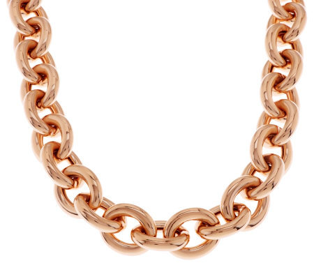 "Bronze 18"" Status Rolo Link Magnetic Necklace by Bronzo Italia"