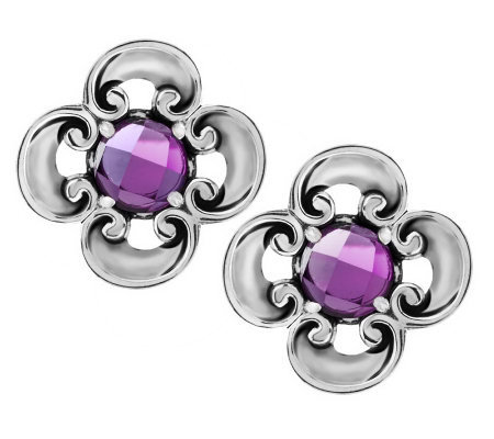 Carolyn Pollack Amethyst or London Blue Topaz Sterling Button Earrings