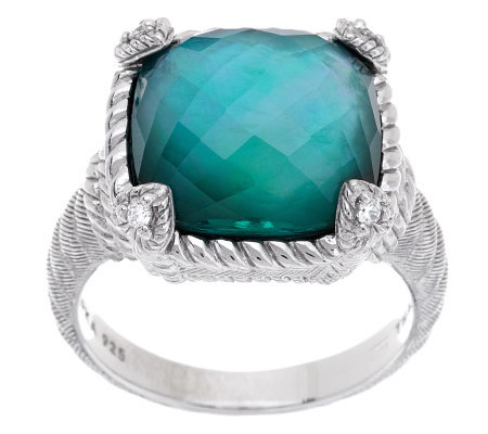 Judith Ripka Sterling Cushion Cut Gemstone Doublet Ring