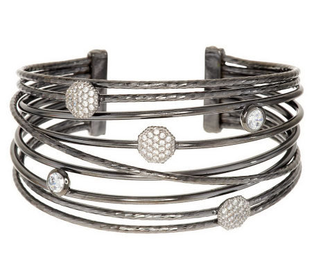Vicenza Silver Sterling Avg. Bold Polished Multi-Row Diamonique Cuff