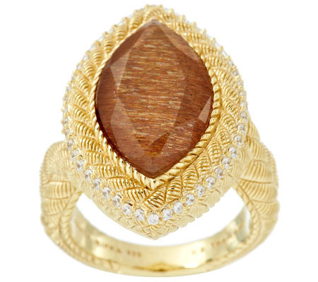 Judith Ripka Sterling & 14K Clad 5.80ct Golden Sunstone Marquise Ring