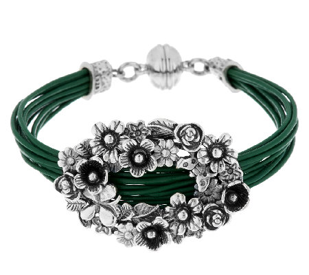 Sterling Silver Floral Design Leather Station Bracelet by Or Paz