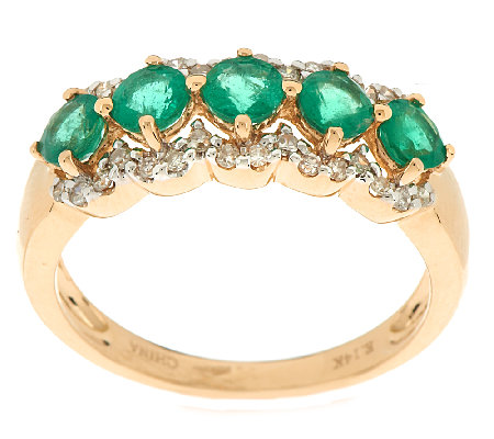 0.75 ct tw Zambian Emerald & 1/7 ct tw Diamond Band Ring, 14K Gold