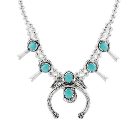 Sterling Silver Turquoise Squash Blossom Necklace by American West