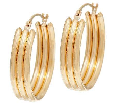 14K Gold Polished Ribbed Triple Tube Hoop Earrings