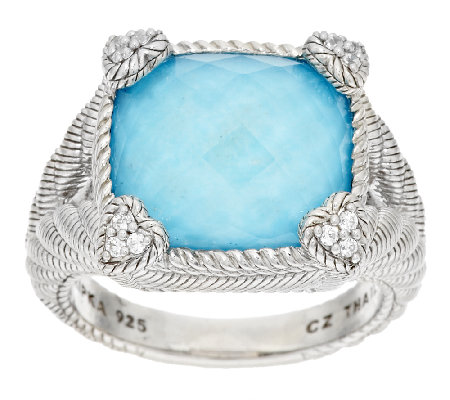 Judith Ripka Turquoise with Crystal Doublet Diamonique Ring