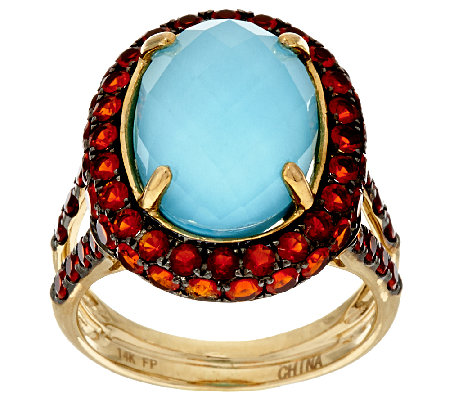 Sleeping Beauty Turquoise Doublet & Fire Opal Ring, 14K 1.00 ct tw