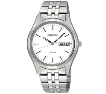 Seiko Men's Silvertone Stainless Steel Watch with White Dial - J297386