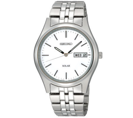 Seiko Men's Silvertone Stainless Steel Watch with White Dial