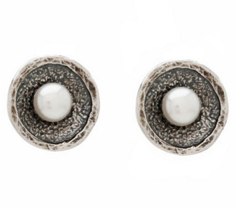 Or Paz Sterling Culture Freshwater Pearl Texture Disc Earring - J297686