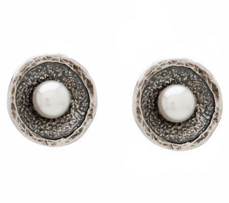Or Paz Sterling Culture Freshwater Pearl Texture Disc Earring