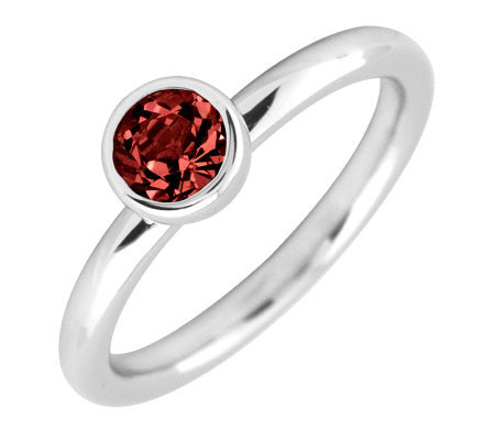 Simply Stacks Sterling 5mm Round Garnet Solitaire Ring