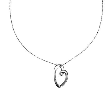 "Sterling Polished Open Heart Pendant with 18"" Chain"