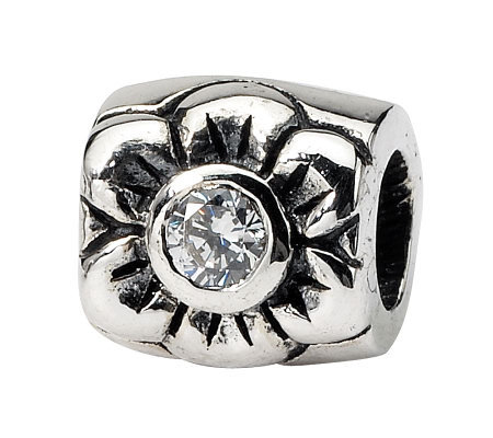 Prerogatives Sterling Cubic Zirconia Flower Bead