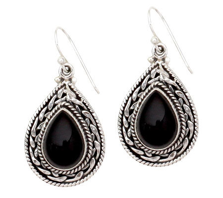 "Novica Artisan Crafted Sterling ""Palace"" Onyx Drop Earrings"