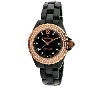 Peugeot Women's Swiss Swarovski Crystal Round Case Watch - J308586